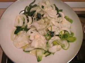 Biban de mare cu fenicul caramelizat si salata verde cu spanac retete ducan, retete sanatoase